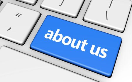 'about us': About us sign and letters on computer keyboard for blog and web business concept 3d illustration. Stock Photo