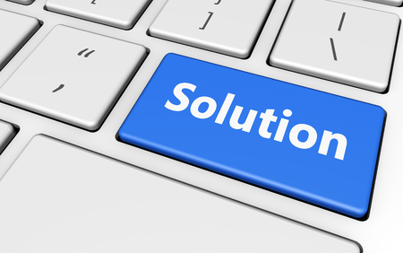 Solution sign and letters on a blue computer keyboard for blog and web business concept 3d illustration.