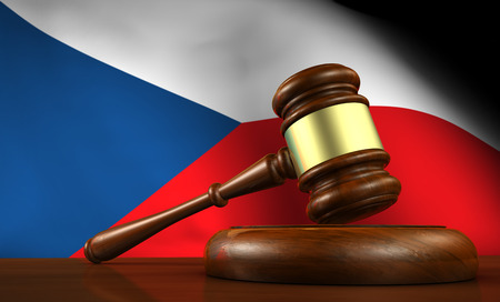 government regulations: Czech Republic law, legal system and justice concept with a 3d render of a gavel on a wooden desktop and the Czech flag on background.