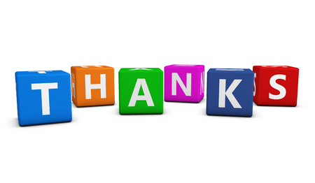 to thank: Thank you concept with thanks word and sign on colorful cubes on white background.