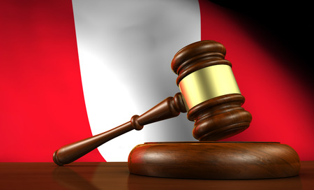 juridical: Peru law, legal system and justice concept with a 3d render of a gavel on a wooden desktop and the Peruvian flag on background. Stock Photo