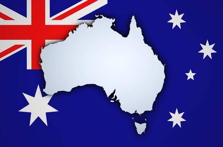 melbourne: Shape 3d of Australia map on Australian flag on background.