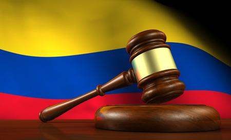 Colombia wet, rechtsorde en rechtvaardigheid concept met een 3d render van een hamer op een houten bureaublad en de Colombiaanse vlag op de achtergrond. Stockfoto