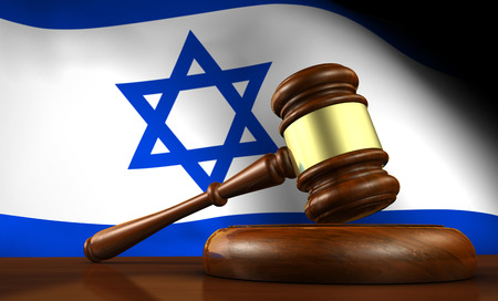 israeli: Israel law, legal system and justice concept with a 3d render of a gavel on a wooden desktop and the Israeli flag on background. Stock Photo