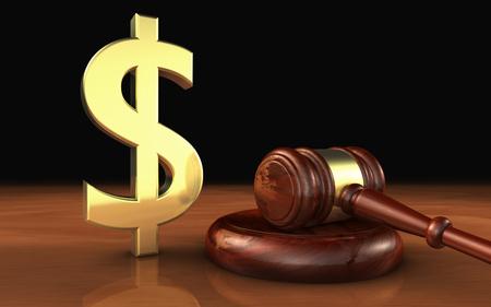 Wet, advocaat en geld met dollar-icoon en symbool en een rechter hamer op een houten bureaublad kostprijs van Justitie concept.