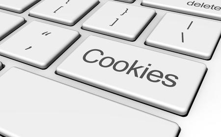 galletas: navegador de Internet y la Web concepto con las galletas signo y palabra en clave de equipo.