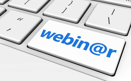 computer key: Webinar and e-learning online education concept with sign and text on a computer key for blog, website and online business.