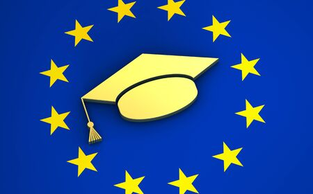 europe: European education, university and school system in Europe concept with EU flag and college hat symbol. Stock Photo