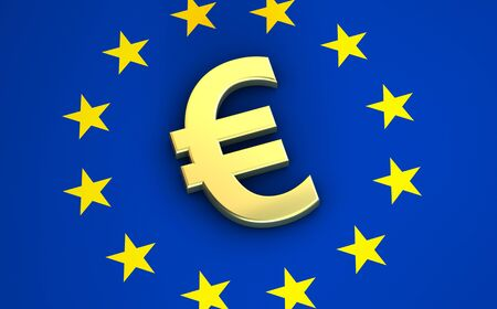 financial symbol: European Union financial concept image with euro symbol, sign and icon on EU flag for blog, website and online business.
