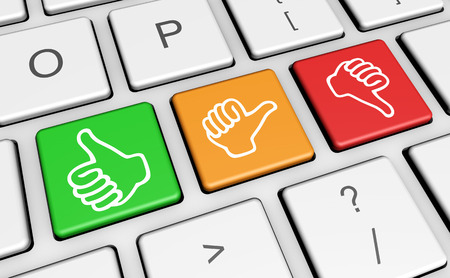 Business quality service customer feedback, rating and survey keys with hands thumb up symbol and icon on computer keyboard. Banque d'images