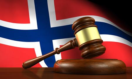 constitucion: la ley noruega, el sistema legal y el concepto de la justicia con un 3d de un martillo sobre un escritorio de madera y la bandera noruega en el fondo.