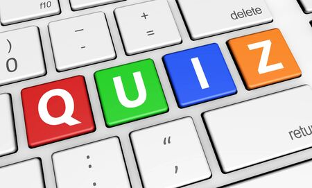 quizzes: Online gaming, Internet and blog concept with quiz word and sign on colorful computer keys.