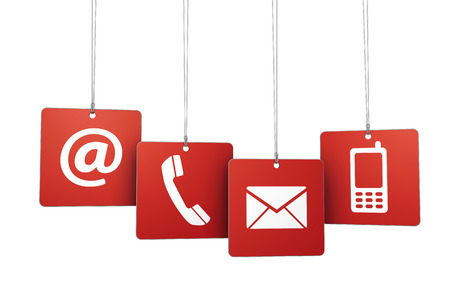 Web and Internet contact us symbol on red hanged tags with at, email, mobile and telephone icons isolated on white background.