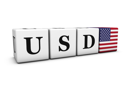 stock exchange brokers: Currency rates, exchange stock market and financial trading concept with dollars usd code sign and US flag on cubes isolated on white background.