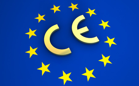 European Union and EU community CE marking concept with sign, symbol and EU flag on background.