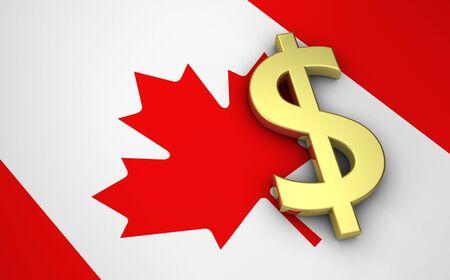 signo pesos: concepto de la economía de Canadá con el indicador canadiense y dinero dólar moneda de oro símbolo.