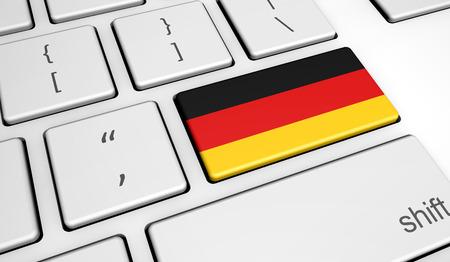 Digitalización y uso de tecnologías digitales en Alemania con la bandera alemana en una llave de computadora.
