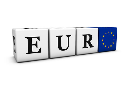 stock exchange brokers: Currency rates, exchange stock market and financial trading concept with eur euro code sign and European Union flag on cubes isolated on white background.