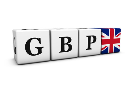 british pound: Currency rates, exchange market and financial stock concept with GBP British Pound code sign and United Kingdom flag on cubes isolated on white background.