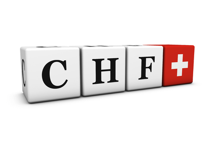 stock exchange brokers: Currency rates, exchange market and financial stock concept with CHF Swiss Franc code sign and Switzerland flag on cubes isolated on white background.