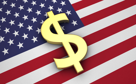 money symbol: United States Of America economy concept with US flag and golden money dollar currency symbol. Stock Photo
