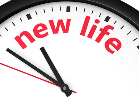 new life: Time for a new lifestyle concept with a clock and new life word and sign printed in red 3d render image.