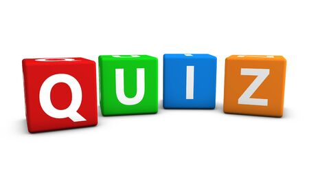 Online gaming, Internet and blog concept with quiz word and sign on colorful cubes isolated on white background.