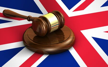 constitutional law: Uk law, justice and United Kingdom legal system concept with a 3d rendering of a wooden gavel and the Union Jack flag on background. Stock Photo