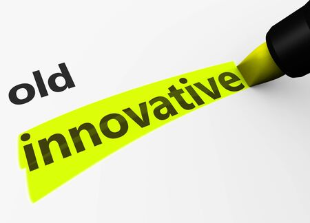 text marker: Innovation in business concept with a 3d render of old text and innovative word highlighted with a yellow marker.