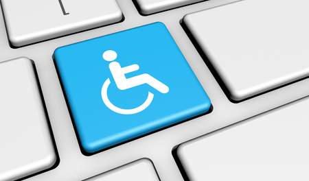 wheelchair access: Web content accessibility concept with wheelchair icon and symbol on a cyan computer key for blog and online business. Stock Photo