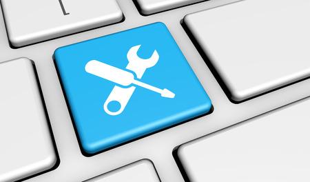 Computer reparatie service concept met werk gereedschap iconen en symbool op een toetsenbord knop computer voor de website en online business. Stockfoto
