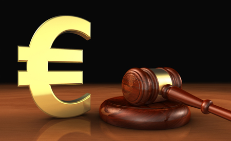 justice: Cost of justice in EU concept with law, lawyer and euro icon and symbol and a judge gavel on a wooden desktop .