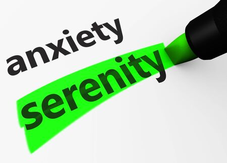 versus: Medical and healthcare concept with a 3d render of anxiety text versus serenity word highlighted with a green marker.