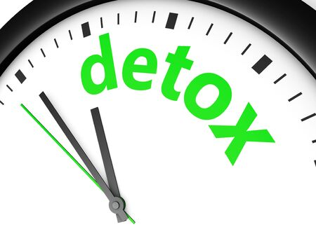 cleansing: Time for detox diet healthy lifestyle and body care conceptual image with a wall clock and detox text printed in green. Stock Photo