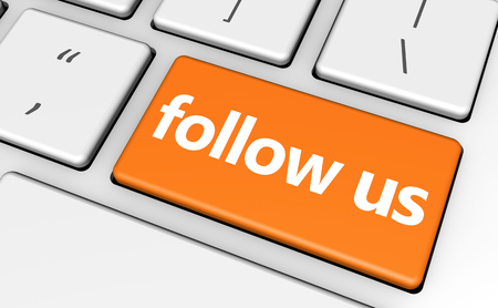 followers: Follow us concept with sign and word on a computer key for blog, website and online business. Stock Photo