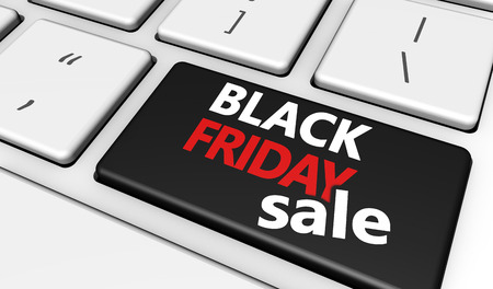 computer button: Black Friday online shopping sale concept with sign and text on a computer button keyboard.