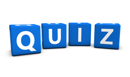 Online gaming, Internet and blog concept with quiz word and sign on blue cubes isolated on white background. Archivio Fotografico