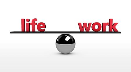 viager: L'équilibre travail-vie 3d illustration conceptuelle avec la vie et travailler signe rouge en équilibre sur une sphère métallique.