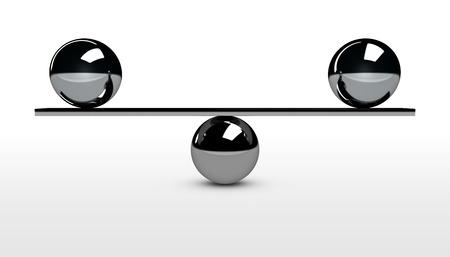 Balance conceptual 3d illustration with balancing between two metal spheres.