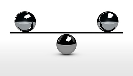 Balance conceptual 3d illustration with balancing between two metal spheres.