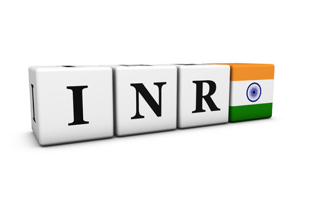 rates: Indian Rupee currency rates, exchange market and financial stock concept with INR code sign and flag of India on cubes isolated on white background.