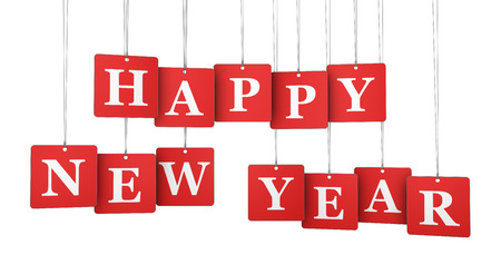new beginnings: Happy new year sign and words on red hanged label paper tags illustration isolated on white background.
