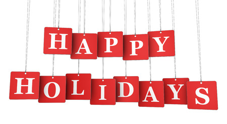 Happy holidays sign and words on red hanged label paper tags illustration isolated on white background. Foto de archivo