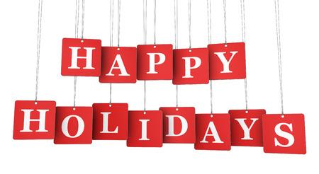glücklich: Frohe Feiertage unterzeichnen und Wörter auf rot gehängt Etikettenpapier-Tags-Darstellung auf weißem Hintergrund.