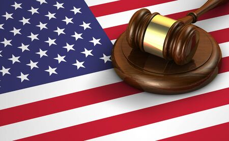 law symbol: US law and justice of The United States of America concept with a 3d render of a gavel and the flag of USA on background.
