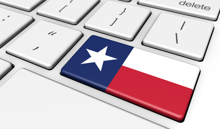 texan: Digitalization and use of digital technologies in Texas with the Texan flag on a computer key. Stock Photo