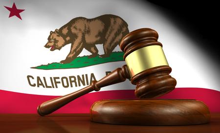 La loi californienne, le système juridique et le concept de la justice avec un rendu 3D d'un marteau sur un bureau en bois et le drapeau californien sur fond.