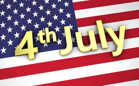 concept day: US independence day USA concept with the United States of America flag on background and 4 th of July golden sign. Stock Photo