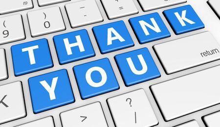 Dank u ondertekenen en letters op de computer-knop sleutel marketing en klanten dankzij het geven concept 3D-afbeelding.