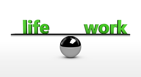 metal sphere: Work-life balance conceptual 3d illustration with life and work green sign balancing on a metal sphere.